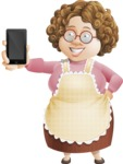 Grandma Vector Cartoon Character - 112 Illustrations Set - Showing a Mobile Phone with Blank Screen