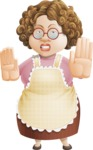Grandma Vector Cartoon Character - 112 Illustrations Set - Making Stop Gesture with Angry Face