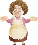 Grandma Vector Cartoon Character - 112 Illustrations Set - Making Welcome Gesture