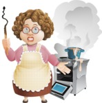 Grandma Vector Cartoon Character - 112 Illustrations Set - Messy Kitchen