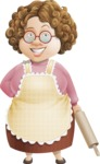 Grandma Vector Cartoon Character - 112 Illustrations Set - Normal