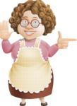 Grandma Vector Cartoon Character - 112 Illustrations Set - Pointing with a Finger and a Smile
