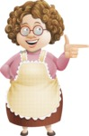 Grandma Vector Cartoon Character - 112 Illustrations Set - Pointing with a Hand