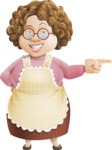 Grandma Vector Cartoon Character - 112 Illustrations Set - Pointing with a Smile