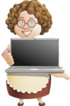 Grandma Vector Cartoon Character - 112 Illustrations Set - Presenting on a Laptop