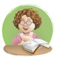 Grandma Vector Cartoon Character - 112 Illustrations Set - Reading Old Home Recipes with Background Illustration