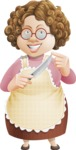 Grandma Vector Cartoon Character - 112 Illustrations Set - Redy to Work with Knife
