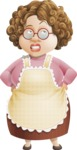Grandma Vector Cartoon Character - 112 Illustrations Set - Rolling Eyes