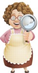 Grandma Vector Cartoon Character - 112 Illustrations Set - Searching with Magnifying Glass