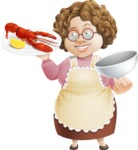 Grandma Vector Cartoon Character - 112 Illustrations Set - Serving Lobster