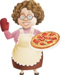 Grandma Vector Cartoon Character - 112 Illustrations Set - Serving Pizza
