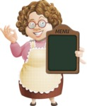 Grandma Vector Cartoon Character - 112 Illustrations Set - Showing Big Blank Menu