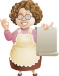 Grandma Vector Cartoon Character - 112 Illustrations Set - Showing Blank Paper Menu