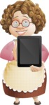 Grandma Vector Cartoon Character - 112 Illustrations Set - Showing Blank Tablet