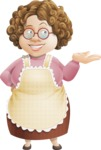 Grandma Vector Cartoon Character - 112 Illustrations Set - Showing with a Hand