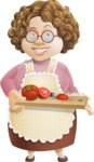 Grandma Vector Cartoon Character - 112 Illustrations Set - Slicing Tomato On Chopping Board