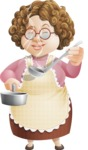 Grandma Vector Cartoon Character - 112 Illustrations Set - Smelling the Food