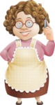 Grandma Vector Cartoon Character - 112 Illustrations Set - Talking on Phone for Online Delivery