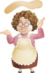 Grandma Vector Cartoon Character - 112 Illustrations Set - Throwing Pizza Dough