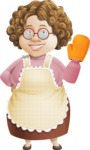 Grandma Vector Cartoon Character - 112 Illustrations Set - Waving for Hello with Handle