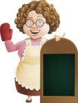 Grandma Vector Cartoon Character - 112 Illustrations Set - With a Menu and Giving Thumbs Up