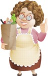 Grandma Vector Cartoon Character - 112 Illustrations Set - With Bag of Groceries