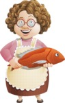 Grandma Vector Cartoon Character - 112 Illustrations Set - With Big Fish to Cook