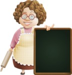 Grandma Vector Cartoon Character - 112 Illustrations Set - With Big Restaurant Menu Board and a Tray