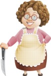 Grandma Vector Cartoon Character - 112 Illustrations Set - With Big Sharp Knife