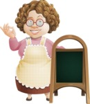Grandma Vector Cartoon Character - 112 Illustrations Set - With Blank Menu Board