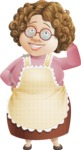 Grandma Vector Cartoon Character - 112 Illustrations Set - With Blushed Face