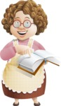 Grandma Vector Cartoon Character - 112 Illustrations Set - With Book full of Recepies