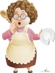 Grandma Vector Cartoon Character - 112 Illustrations Set - With Broken Dish