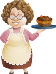 Grandma Vector Cartoon Character - 112 Illustrations Set - With Delicious Cake Dessert