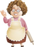 Grandma Vector Cartoon Character - 112 Illustrations Set - With Delicious Gesture and a Rolling Pin