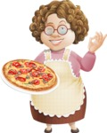 Grandma Vector Cartoon Character - 112 Illustrations Set - With Delicious Pizza in his Hand
