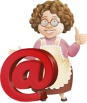 Grandma Vector Cartoon Character - 112 Illustrations Set - With Email Web Sign