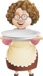 Grandma Vector Cartoon Character - 112 Illustrations Set - With Empty Plate