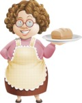Grandma Vector Cartoon Character - 112 Illustrations Set - With Freshly Baked Loaf of Bread