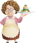 Grandma Vector Cartoon Character - 112 Illustrations Set - With Gourmet Plate