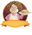 Grandma Vector Cartoon Character - 112 Illustrations Set - With Homemade Bread Illustration with Label