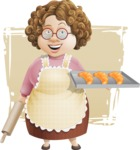 Grandma Vector Cartoon Character - 112 Illustrations Set - With Homemade Croissants and Simple Shapes Background Illustration