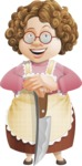 Grandma Vector Cartoon Character - 112 Illustrations Set - With Knife and Smiling Face
