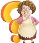 Grandma Vector Cartoon Character - 112 Illustrations Set - With Question Mark