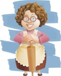 Grandma Vector Cartoon Character - 112 Illustrations Set - With Rolling Pin Food Illustration with Background