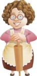 Grandma Vector Cartoon Character - 112 Illustrations Set - With Rolling Pin