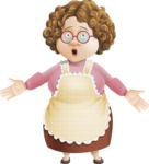 Grandma Vector Cartoon Character - 112 Illustrations Set - With Shocked Face