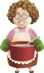 Grandma Vector Cartoon Character - 112 Illustrations Set - With Soup and Scoop