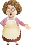 Grandma Vector Cartoon Character - 112 Illustrations Set - With Stunned Face