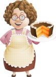 Grandma Vector Cartoon Character - 112 Illustrations Set - With Sweet Cake Dessert and a Smile Pastry Chef